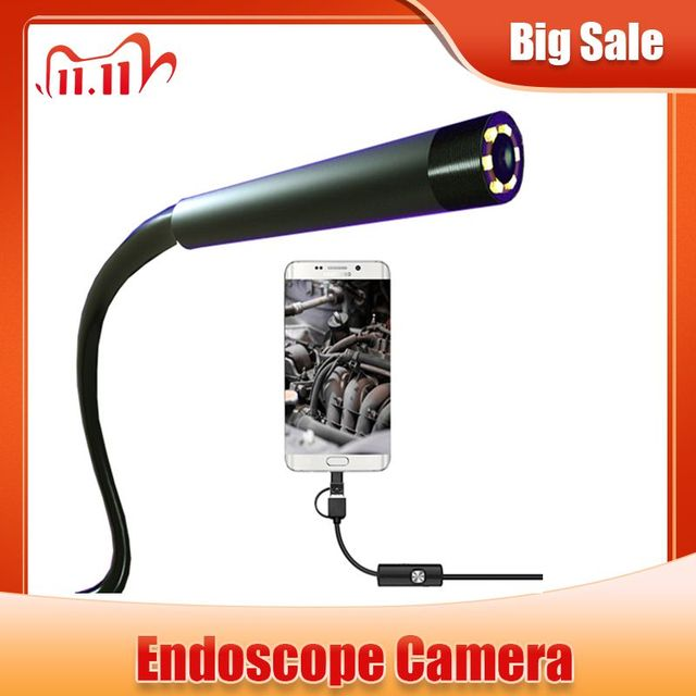 Endoscope 720P 8mm 5.5mm Lens Snake Semi Rigid Cable 6 LED Light Waterproof USB Camera For Android Phone Windows PC Endoscope
