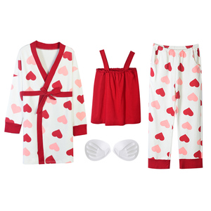 Image 5 - Bzel algodão pijamas conjunto para mulher vermelho amor pijamas dos desenhos animados femme nighty casual homewear loungewear 3 peça conjuntos pijamas