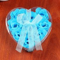 Scented Rose Flower Heart Shape Gift Box Bath Body Soap Gift Wedding Party Favor 9Pcs