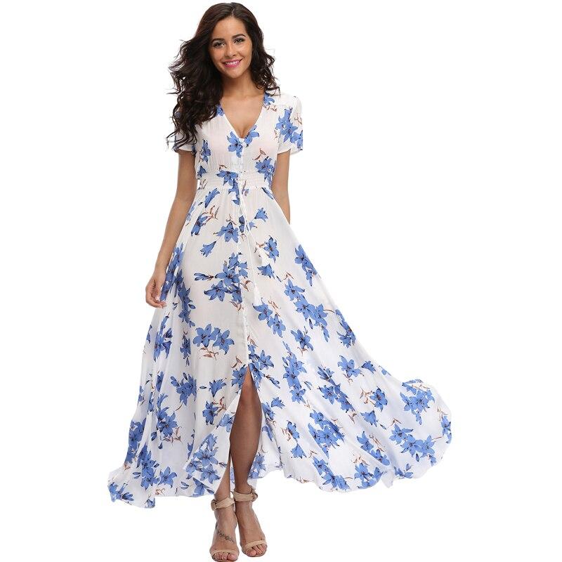Vintage Clothing Women's Floral Maxi Dresses Boho Button Up Split Beach Party Dress 4