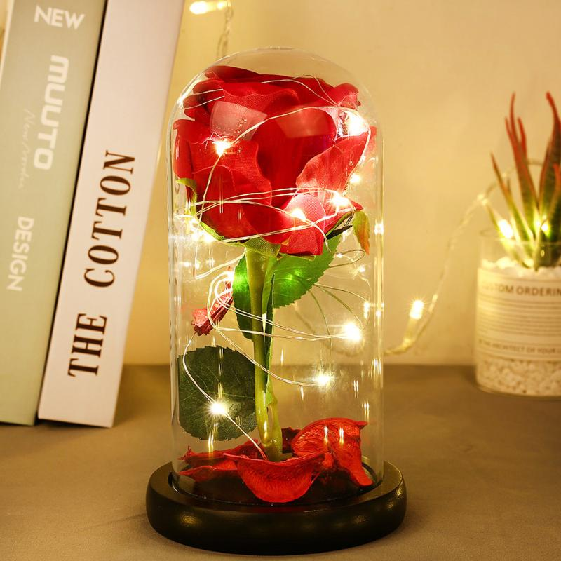 20LED Night Lights Rose Flower In Glass Dome Copper Wire String Lights For Wedding Party Valentine's Day Gift Home Decor