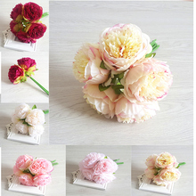 5pcs Artificial Silk Flowers Royal Peon Hands Holding Silk Flower Bridal Bridesmaid Bouquet Latex Real Touch Wedding Party Decor holding hands