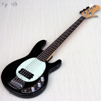 5 string black color electric bass guitar full mahogany wood bass guitar 43 inch high gloss bass guitarra