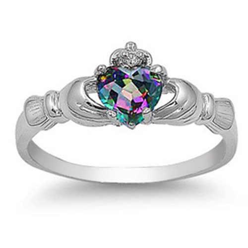Multi-color amor en forma de corazón anillo de mujer circonio imitación diamante cobre Chapado en plata compromiso anillo de joyería femenina