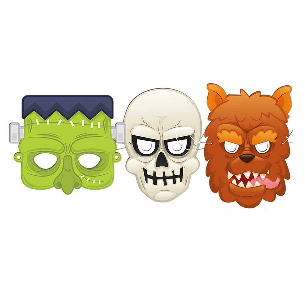 6 шт Вечерние бумажная маска Монстр череп страшный призрак Вечерние Маски фото реквизит-украшение косплей реквизит для Хэллоуина