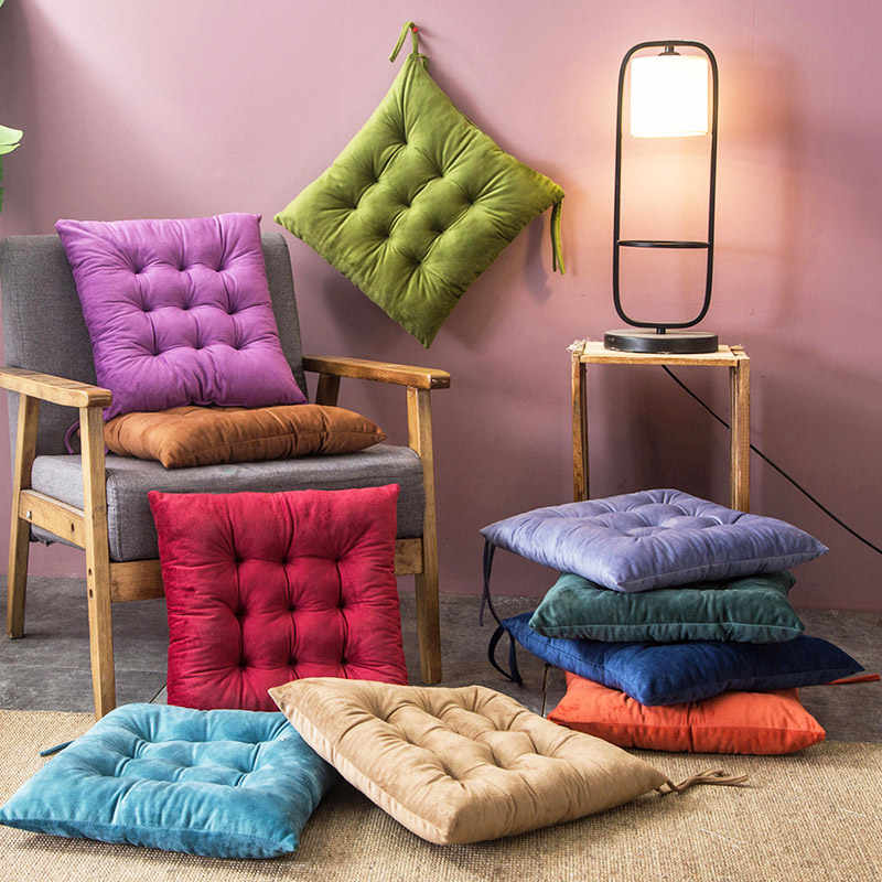 Crystal Velvet Solid Square Cushion Decorative Sitting Cushions