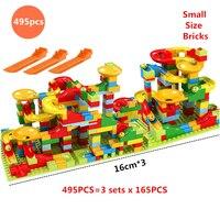 Tamanho pequeno blocos de construção de mármore corrida funil corrediça compatível com idéias cidade blocos pista montar tijolos crianças brinquedos presentes