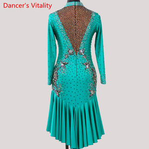 Image 2 - Latin Dance Performance Costume Adult Women High end Professional Racing V Neck Backless Dress Rumba Tango Dancing Stage Wear