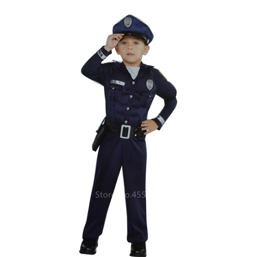 Kids Halloween Cosplay Costume Police Carnival Party for Baby Boys Girls Fancy Performance Policeman Wear Hat Top Pants Belt Set