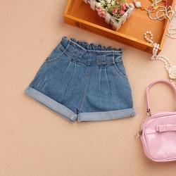 Girls Summer Shorts 2020 Children Elastic Waist Denim Pants for Baby Girl Teenage Cotton Loose Blue Jeans Shorts Girl's Clothing