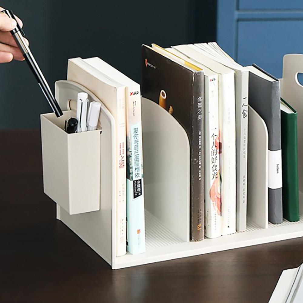 Desktop estante de mesa piso pequena estante mesa estudante livro rack armazenamento simples estante com caneta titular caixa