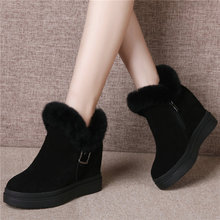 Trainers Shoes Women Cow Suede Leather Wedges High Heel Ankle Boots Top Rabbit Fur Platform Pumps Winter Punk Creepers Size