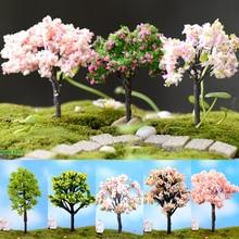 Миниатюрное дерево микро бонсай для пейзажа садовое растение вишневый цвет/слива/ива/кокосовое дерево Смола ремесло украшение сада