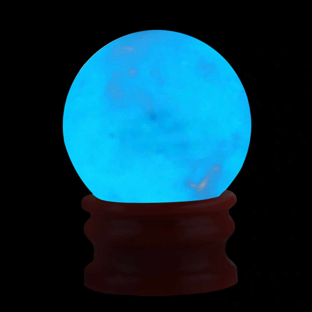 35MM Amazing Fluorescent Ball Blue Luminous Glowing Stone Quartz Crystal Sphere Bedroom Decoration Ball Glow Stone Best Gifts