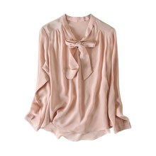 Chemisier en soie à manches longues naturelle, chemise ample pour toutes les années pour femmes, 100%