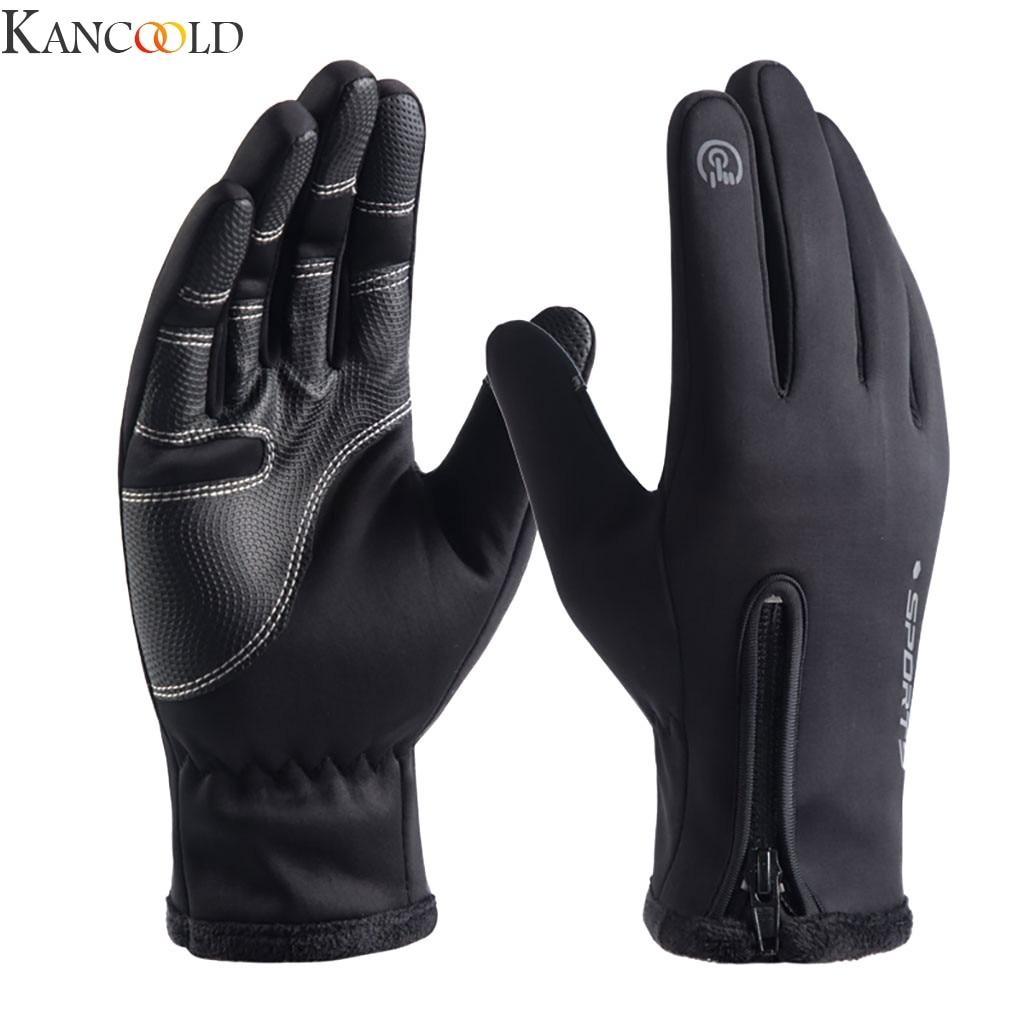 KANCOOLD Women Man Gloves Unisex Winter Outdoor Sports Waterproof Zipper  Windproof Warm Comfortable Full Finger Gloves New
