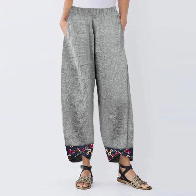 Plus Size Women's Harem Pants Autumn Elastic Waist Casual Pants Vintage Floral Printed Trousers Female Loose Pantalon Palazzo