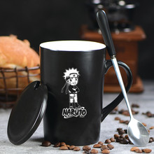Anime Naruto Ceramic Coffee Milk Cup Carving Hokage Mug & Cover & Spoon Water Tea Uzumaki Naruto Drinkware Halloween Gifts New(China)