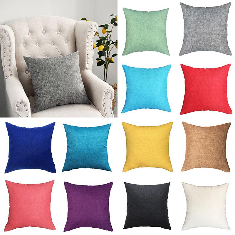 40x40cm Plain Linen Pillowcase Nordic Sofa Pillowcase Waist Pillow Cover Cases Home Decor Decorative Hotel Pillow Protector 2020