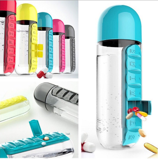 600ml 2 In 1 Pill Box Water Bottle Outdoor 7 Compartments Medicine Organizer With Drinking Bottle Portable Carrying Tablet