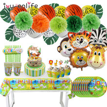 Disposable Tableware Jungle Foil-Balloon Cake Birthday-Party-Decoration Baby Shower Animal-Party