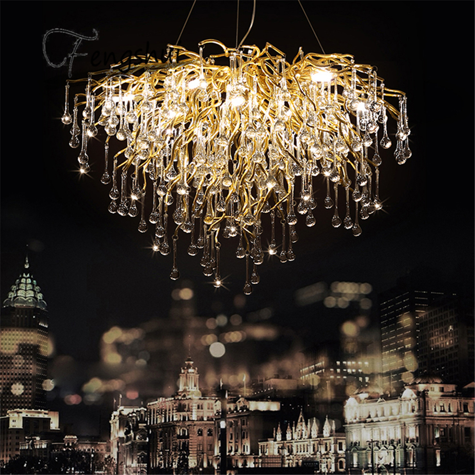 Nordic Luxury Gold Crystal Chandelier Lighting Retro Large Lustre Hanging Lamp for Living Room Hotel Hall Art Decor Lighting