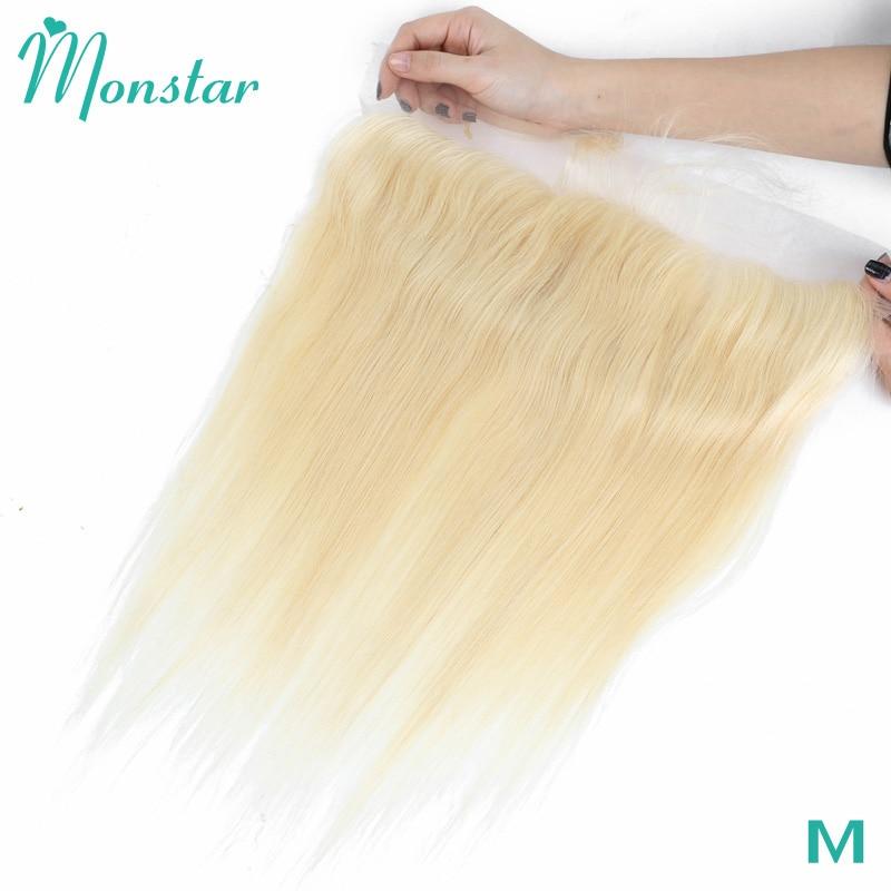 Monstar 13x4 613 светлые предварительно выщипанные фронтальные перуанские прямые человеческие волосы Remy Средняя/свободная часть от уха до уха Фро...