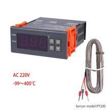 Controlador de temperatura digital-99 ~ 400 graus pt100 m8, sonda sensor de termostato incorporado 220v interruptor de aquecimento de refrigeração