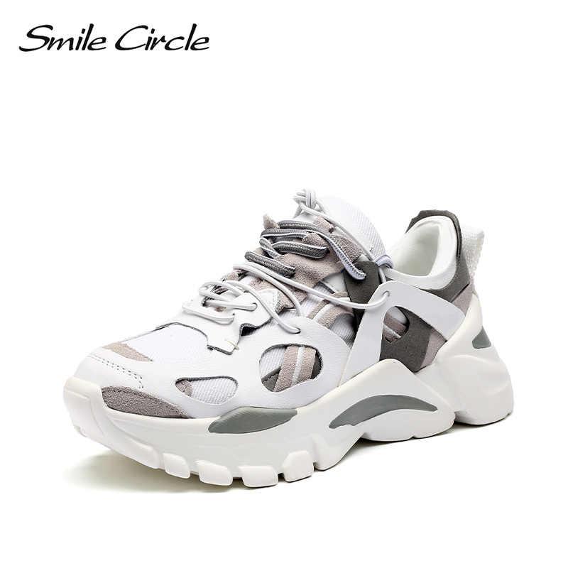 Lächeln Kreis Frauen schuhe Flache Plattform Sneaker Lace-up lässige Bequeme Patchwork Dicken boden Damen Sneaker