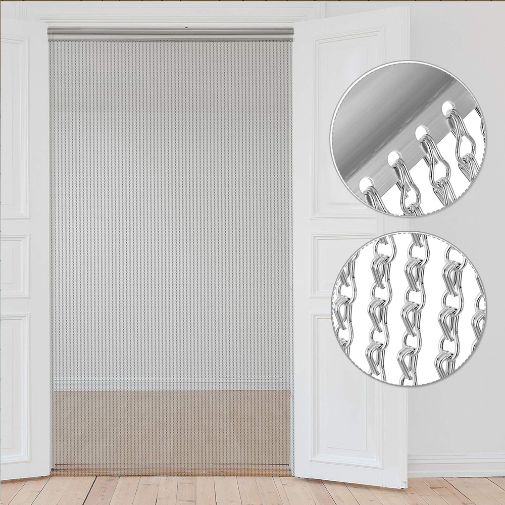 VEVOR Aluminum Metal Chain Curtain 84x35 Inch Silver Chain Curtain Door Screen Curtain Room divider Domestic Commercial Use