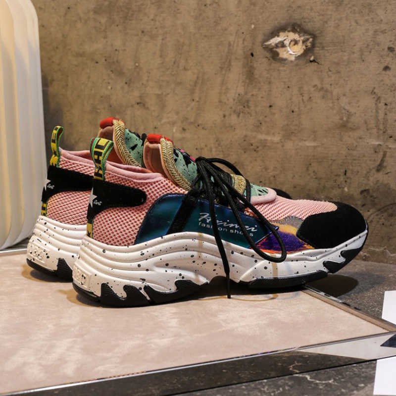 2019 printemps Style bout rond plate-forme grosses baskets papa chaussures chaussette noir violet rose Basket Femme femmes chaussures taille 35-39 C2187
