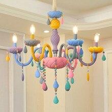 Lustre en cristal arc-en-ciel européen bougie lustres chambre enfants fille américaine princesse Makaron lampes