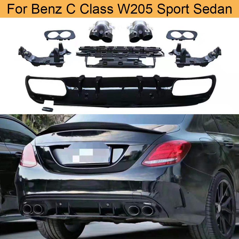Car Rear Bumper Diffuser Lip for <font><b>Mercedes</b></font> Benz C Class W205 Sport Sedan 4 Door 2015-2019 Rear Diffuser Spoiler with Exhaust Tips image