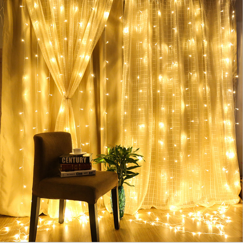 3x3m/6x3m Led Icicle Led Curtain Fairy String Light Fairy Light 300 Led Christmas Light For Home Window Wedding Party Decor