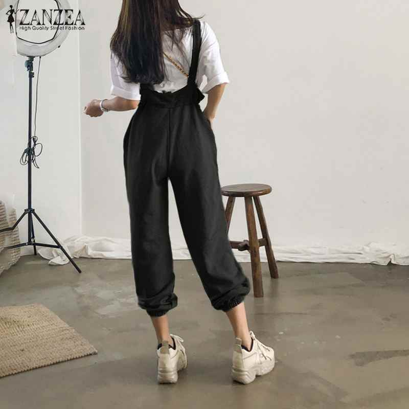 ZANZEA Frauen Sexy Ärmel Overalls Damen Elastische Taille Lange Hosen Jeans-hosen-denim-overall-spielanzug-strumpf Elegante Büro Arbeit Playsuits Overalls