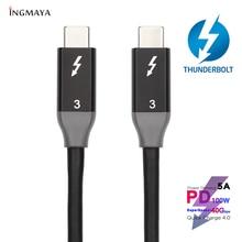 Thunderbolt 3 kabel 40 gb/s danych PD szybkie ładowanie 5A 100W dla Macbook Pro stacja dokująca do SSD USBC ładowania TB3 typu C Thunderbolt3 przewód