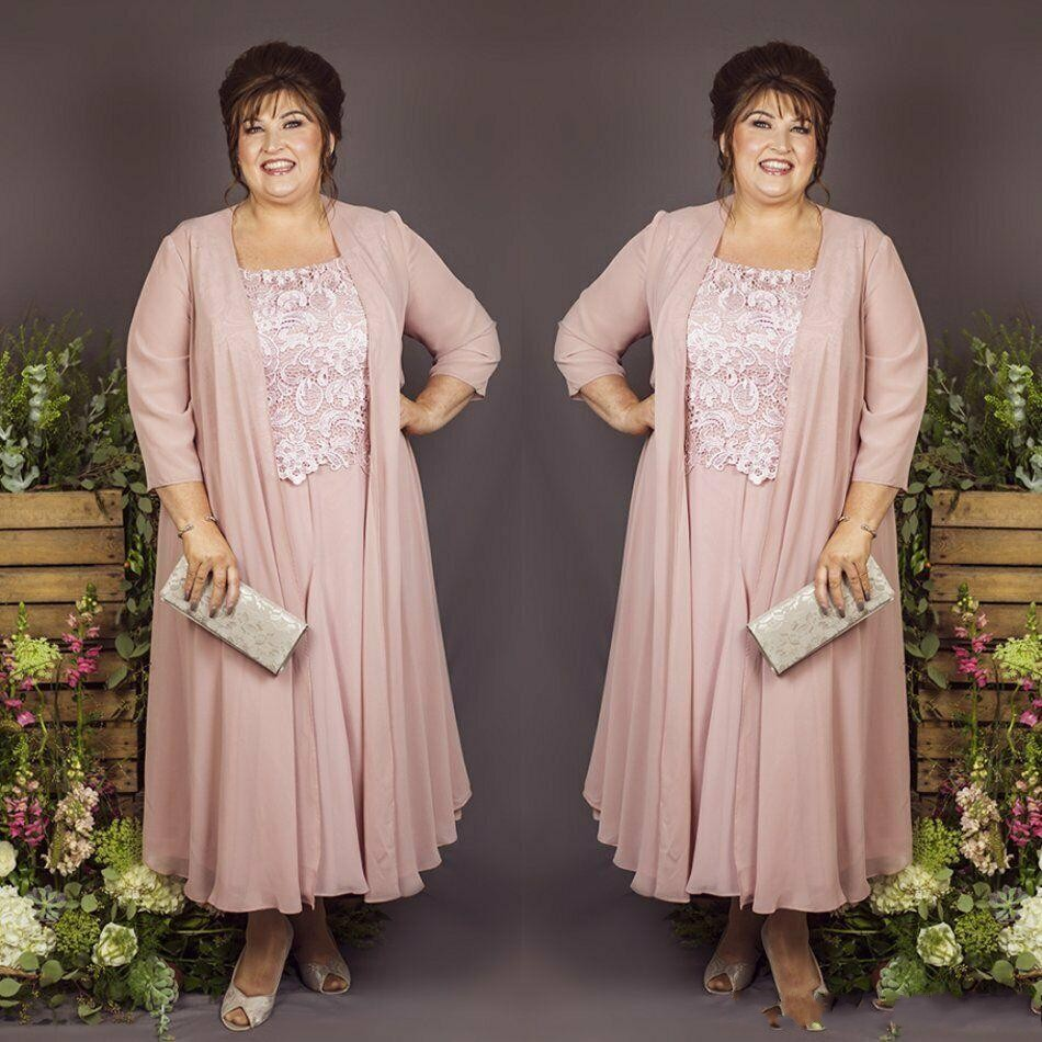 Vintage Mother Of The Bride Dresses With Jacket Ankle Length Lace Appliques Chiffon Plus Size Wedding Guest Dress Evening Gown