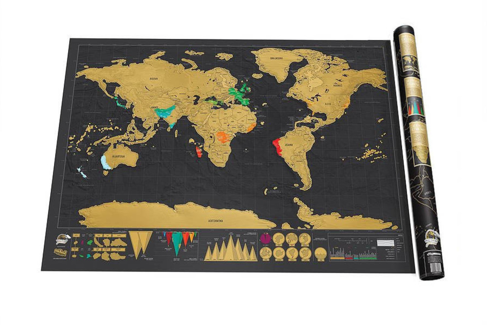 NEW Deluxe Black Scratch Off World Map Best Decor