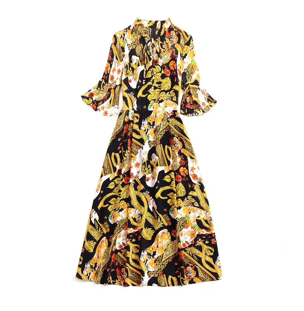 New European and American women's dresses for spring 2020  Five-minute sleeve horn sleeve stand collar  printing  silk dress