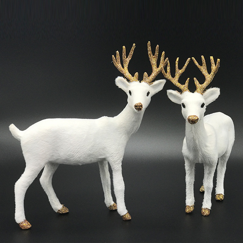 Drop Shipping White Christmas Dolls White Reindeer Xmas Deer Elk Plush New Year Christmas Decorations Ornaments Home Gift