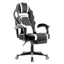 Кожаное офисное игровое кресло Гоночное с подставкой для ног