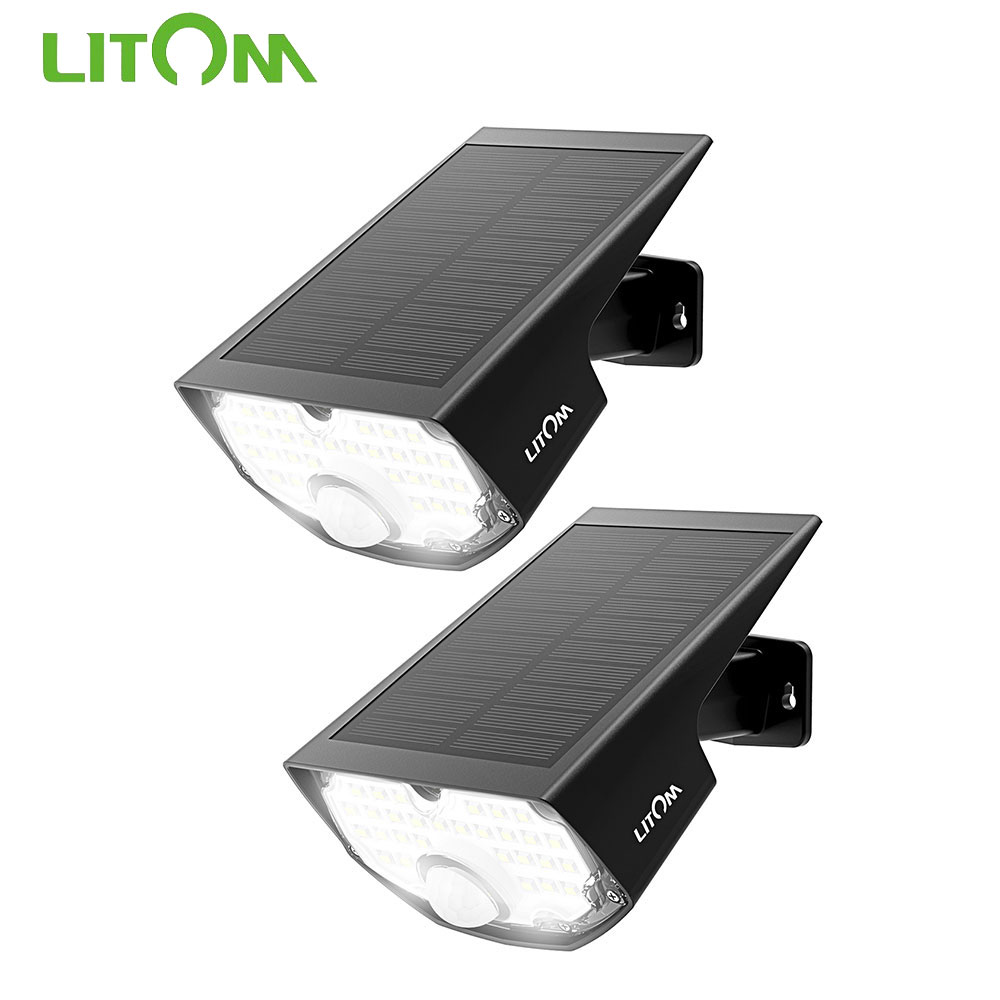 2//4//6X Litom LED Solar Powered Fence Wall Light Outdoor Garden Security Lamps UK