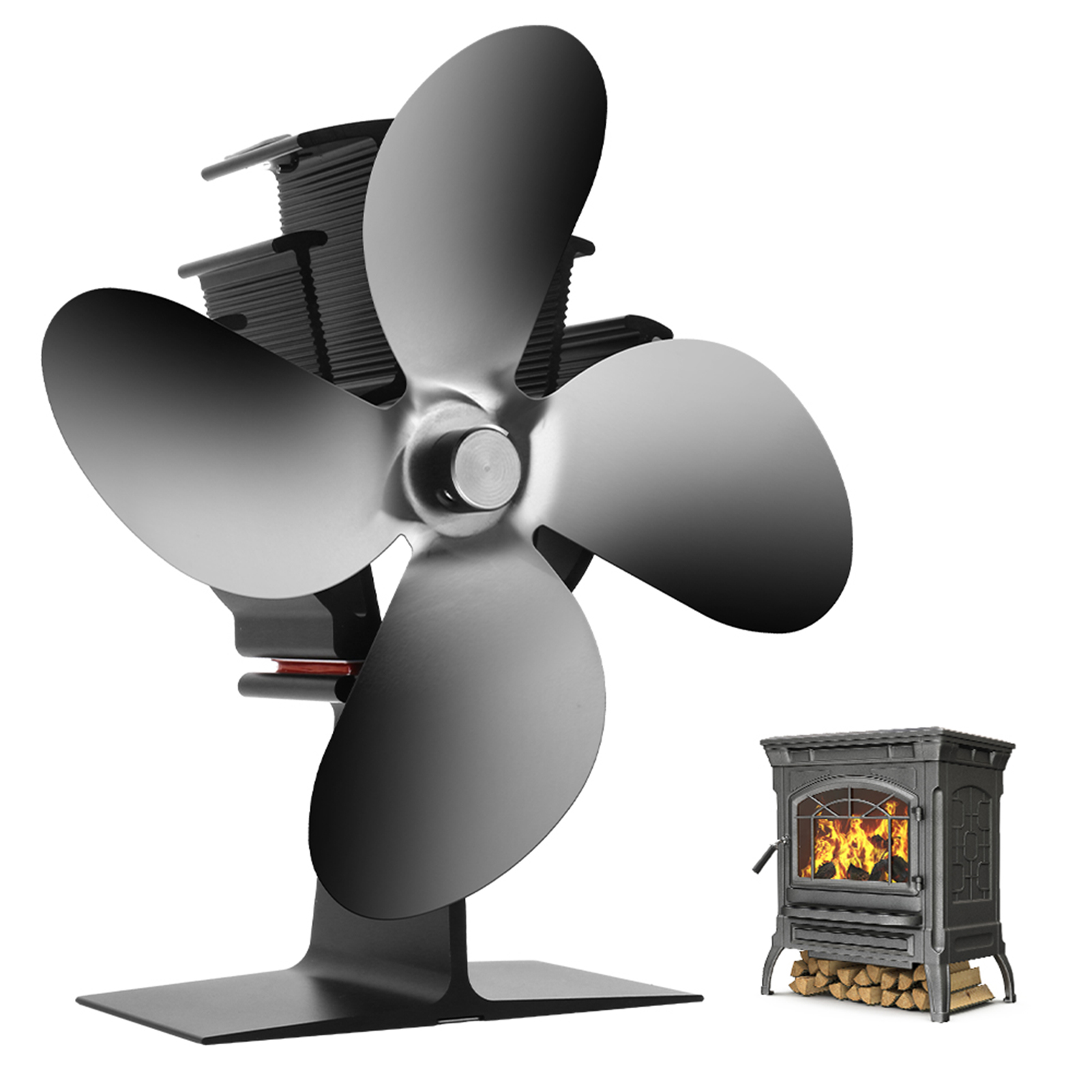 Heat Powered Stove Fan 4 Blades for Home Wood Log Burning Fireplace Accessories Circulating Warm Air Saving Fuel Efficiently Fan