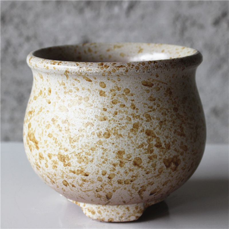 Home Garden Vintage Succulent Ceramic Flower Pot Stoneware Purple Sand Succulent Flower Pot Spray Glaze Balcony Planting Pots Just6F