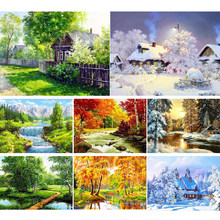 5D Diy Diamond Painting Landscape Nature Cross Stitch Kit Full Drill Embroidery Winter Mosaic Art Picture of Rhinestones Decor