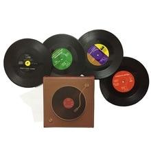 Vintage negro plástico CD vinilo registro posavasos Mesa manteles resistente al calor taza de café alfombrilla para bebidas