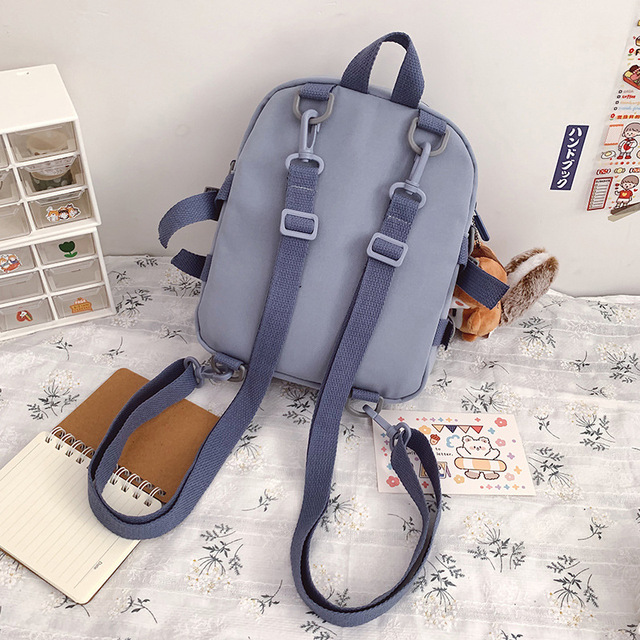 Korean Style Canvas Small Mini Backpack For Women Fashion Travel Backpack Leisure School Bag Tote For Tennage Girl Shoulder Bag 5