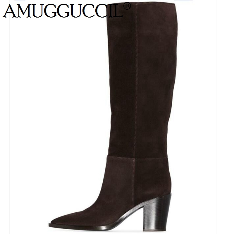 2020 New Cow Suede Real leather Plus Big Size 35-45 Black Coffee Fashion Sexy Female Ladies Calf Autumn Winter Women Boots X1881