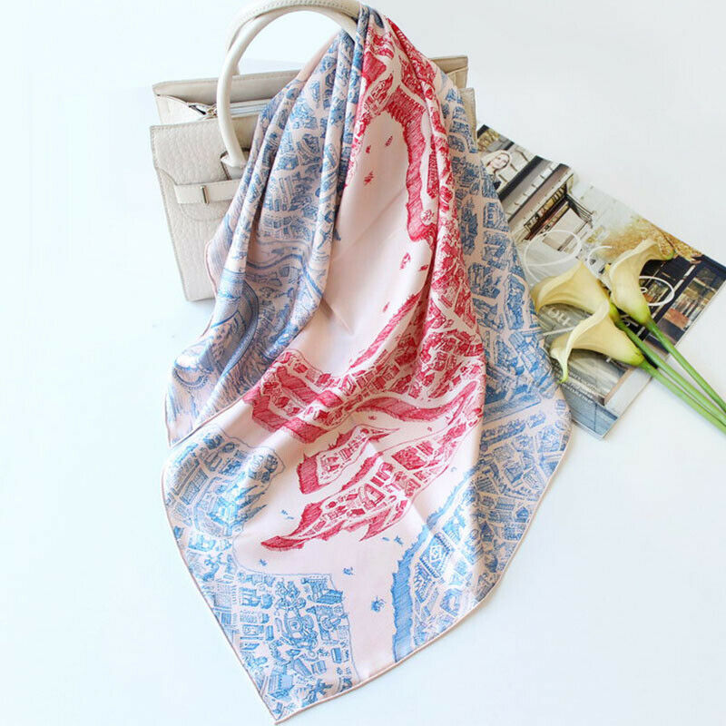 100/% Twill Silk Square Scarf Luxury Horse Print Kerchief Shawl Hijab Wraps 90cm