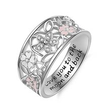 Best Selling Creative Epoxy Glued Cherry Blossom Ring Design Letter Love You To The Moon and Back Ring Jewelry Gift for Women(China)